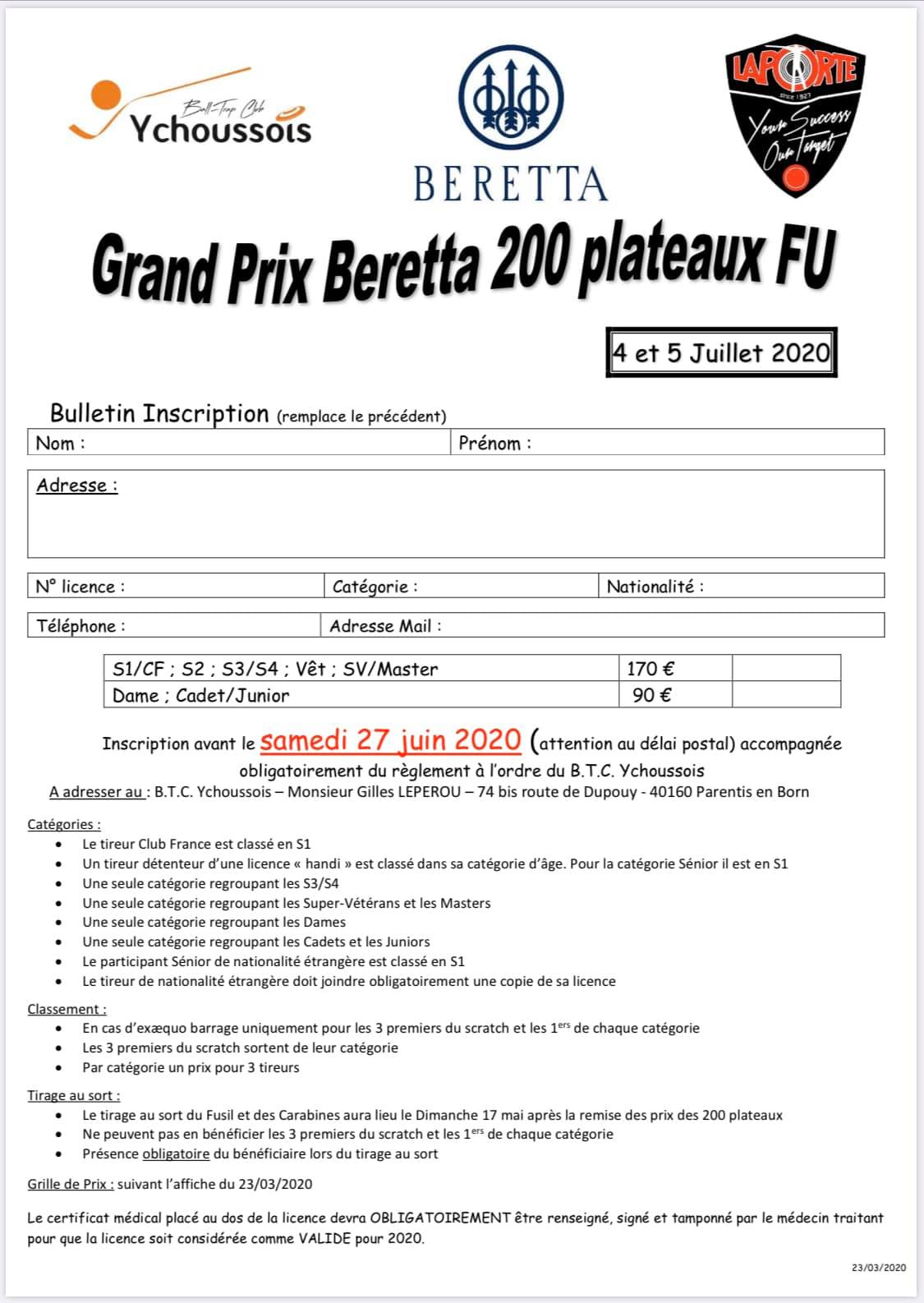 Bulletin d inscription GP Beretta 2020 V2