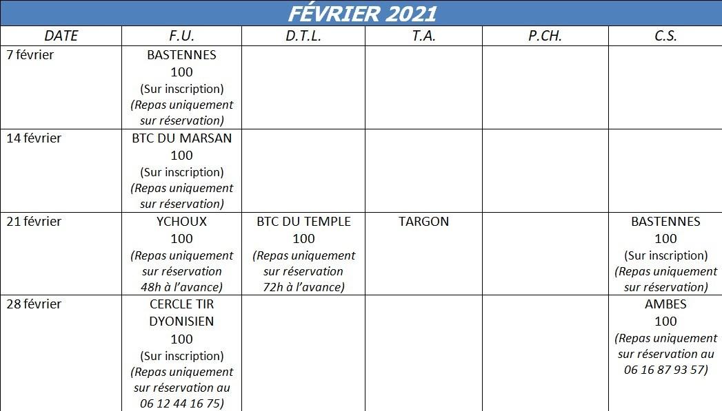 Calendrier Ffbt 2021 Calendriers annuels   Ball Trap Aquitaine